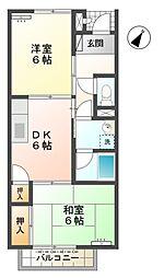 愛知県豊田市上野町7丁目の賃貸アパートの間取り