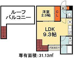 グランティック ルクティア 2階1LDKの間取り