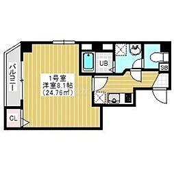 JR外房線 蘇我駅 徒歩4分の賃貸マンション 5階1Kの間取り