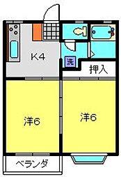 神奈川県横浜市港南区日野4丁目の賃貸アパートの間取り