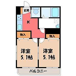 栃木県下都賀郡壬生町あけぼの町の賃貸マンションの間取り