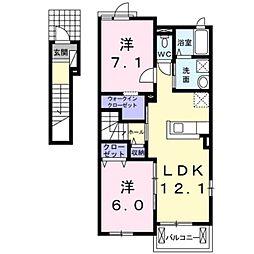 神奈川県厚木市金田の賃貸アパートの間取り
