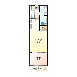 H-maison平野ノースI 1階1LDKの間取り
