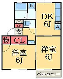 千葉県大網白里市みずほ台2丁目の賃貸アパートの間取り
