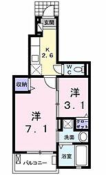 愛知県豊田市柿本町4丁目の賃貸アパートの間取り
