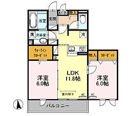 (仮)D-room戸田 A棟 3階2LDKの間取り