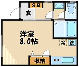 川崎市高津区下作延5丁目計画 1階ワンルームの間取り