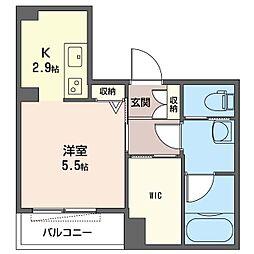 仮称 さいたま市大宮区宮町5丁目シャーメゾン 3階1Kの間取り