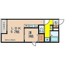 東京都立川市羽衣町1丁目の賃貸アパートの間取り