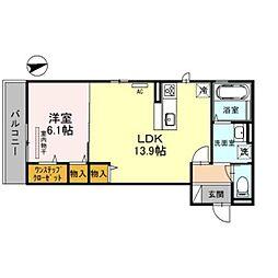 泉北高速鉄道 深井駅 徒歩12分の賃貸アパート 3階1LDKの間取り