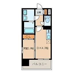 福岡市地下鉄空港線 大濠公園駅 徒歩4分の賃貸マンション 6階1DKの間取り