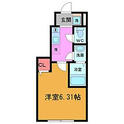 (仮称)ベリエ平井 1階1Kの間取り