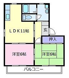 大阪府羽曳野市樫山の賃貸アパートの間取り