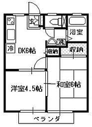 コスモハイツA[202号室]の間取り