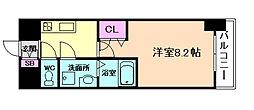 ララプレイス 大阪 ウエストゲート 2階1Kの間取り