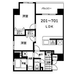(仮称)JU TOWER FRONT 北斎St 7階2LDKの間取り