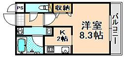 JR福知山線 伊丹駅 徒歩8分の賃貸マンション 1階1Kの間取り