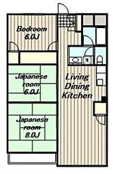 神奈川県海老名市中新田1丁目の賃貸マンションの間取り