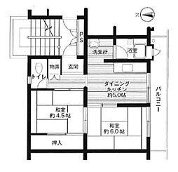ビレッジハウス広江 1号棟[402号室]の間取り