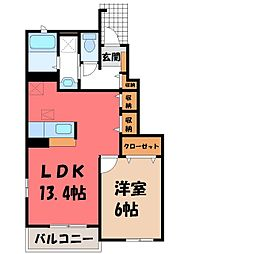 栃木県小山市大字千駄塚の賃貸アパートの間取り