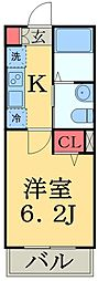 JR総武本線 東千葉駅 徒歩8分の賃貸アパート 2階1Kの間取り