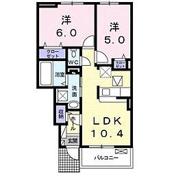 愛知県豊橋市新栄町字鳥畷の賃貸アパートの間取り