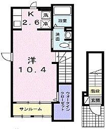 JR武蔵野線 新座駅 徒歩18分の賃貸アパート 2階1Kの間取り