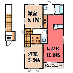 栃木県栃木市大平町牛久の賃貸アパートの間取り