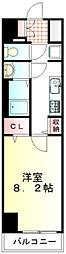東武東上線 川越駅 徒歩4分の賃貸マンション 2階1Kの間取り