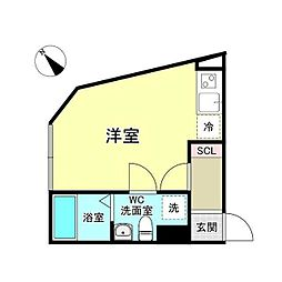 西武新宿線 沼袋駅 徒歩8分の賃貸マンション 3階ワンルームの間取り