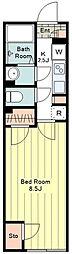 JR中央線 八王子駅 徒歩15分の賃貸マンション 3階1Kの間取り