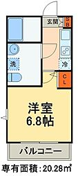 JR総武線 本八幡駅 徒歩7分の賃貸アパート 2階1Kの間取り