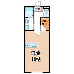 EMINENCE清原台 2階ワンルームの間取り