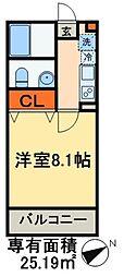 グレース新鎌ヶ谷 3階1Kの間取り