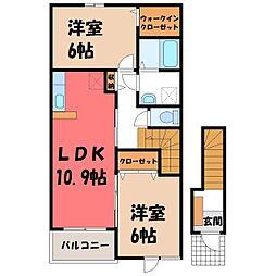 茨城県筑西市門井の賃貸アパートの間取り