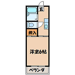 栃木県小山市本郷町3丁目の賃貸アパートの間取り
