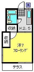 神奈川県横浜市港南区東永谷1丁目の賃貸アパートの間取り