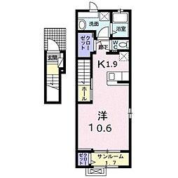 ルーチェクレアIIA 2階1Kの間取り