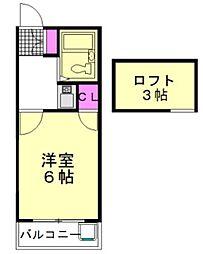 JR武蔵野線 新座駅 徒歩15分の賃貸アパート 2階1Kの間取り