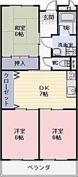 滋賀県湖南市石部中央4丁目の賃貸マンションの間取り