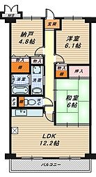フルール香ケ丘[4階]の間取り