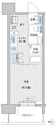 JR南武線 武蔵新城駅 徒歩6分の賃貸マンション 13階1Kの間取り