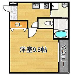 Osaka Metro今里筋線 瑞光四丁目駅 徒歩5分の賃貸アパート 2階1Kの間取り