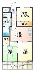 愛知県岡崎市中町2丁目の賃貸マンションの間取り