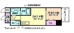 阪急神戸本線 十三駅 徒歩7分の賃貸マンション 11階1DKの間取り