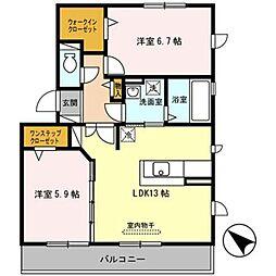 大阪府堺市南区和田東の賃貸アパートの間取り
