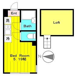 JR南武線 中野島駅 徒歩13分の賃貸アパート 1階1Kの間取り