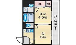 ヴァンルノワール新御堂 9階1DKの間取り