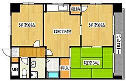 鶴見緑地ハイツ弐番館[2階]の間取り
