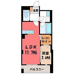 ハナワダHKYMパナハイツ 3階1SKの間取り